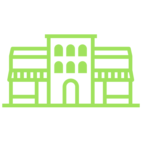 Green commercial building icon