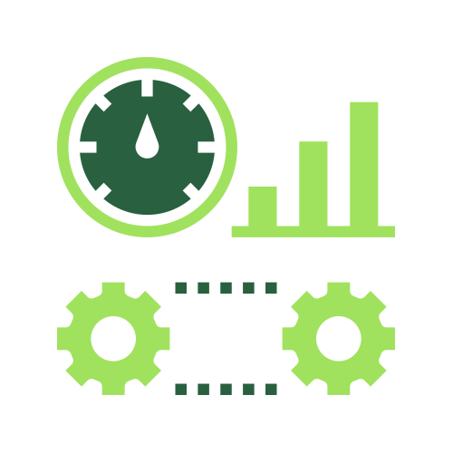 Green gears and stats icon