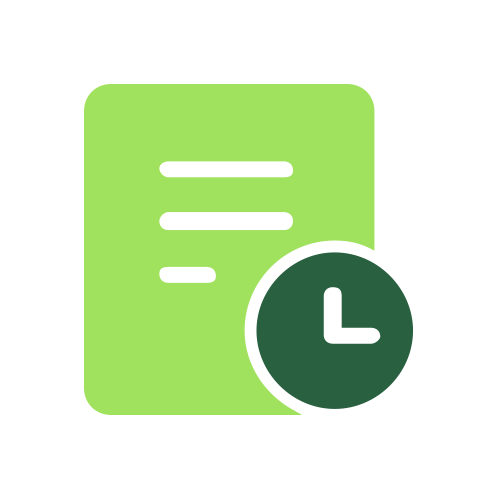 Green document with clock icon