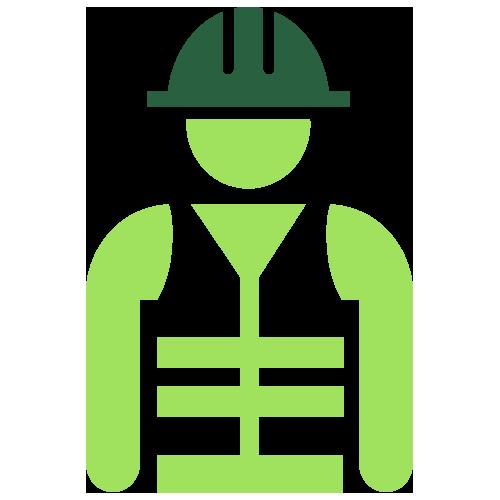 Green worker wearing helmet icon